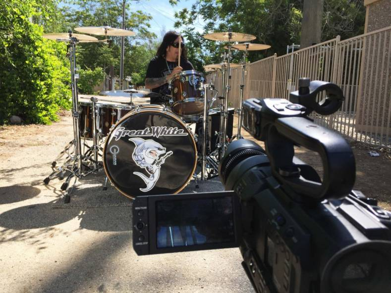 Filming Audie Desbrow, Great White's drummer for Big Time msic video.