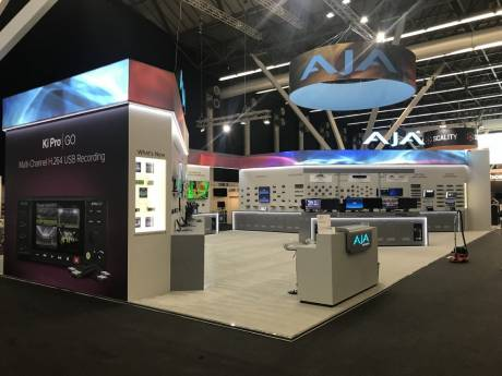 The AJA exhibit at IBC 2019 was filled with gear connecting infrastructure and workflow.