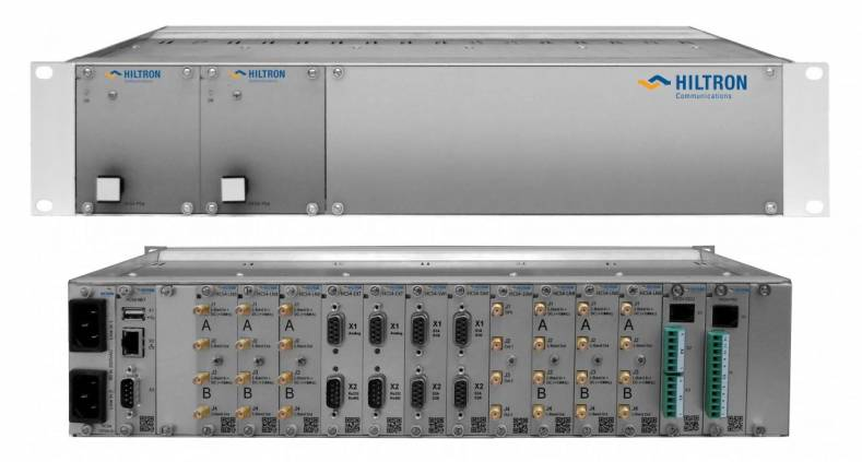 Front and rear of the 2U high 19-inch rack-mountable Hiltron HCS-4 satellite communications controller.