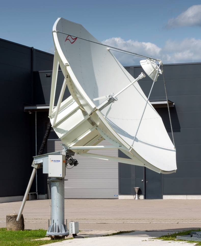 A Hiltron HMAM motorised satellite communications antenna system incorporating an ESA Microwave feed for C- and Ku-band.