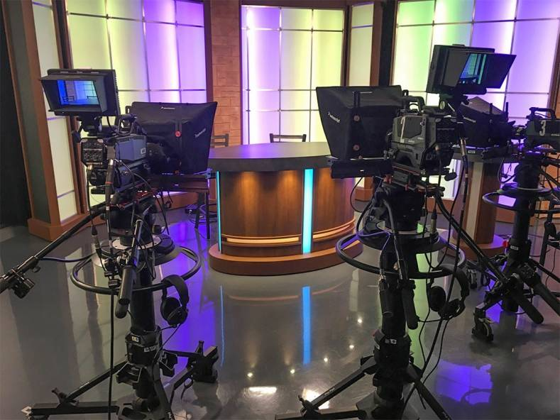 Three Hitachi Z-HD6000 cameras at the ready for newscast production in James Madison University's SMAD studio.