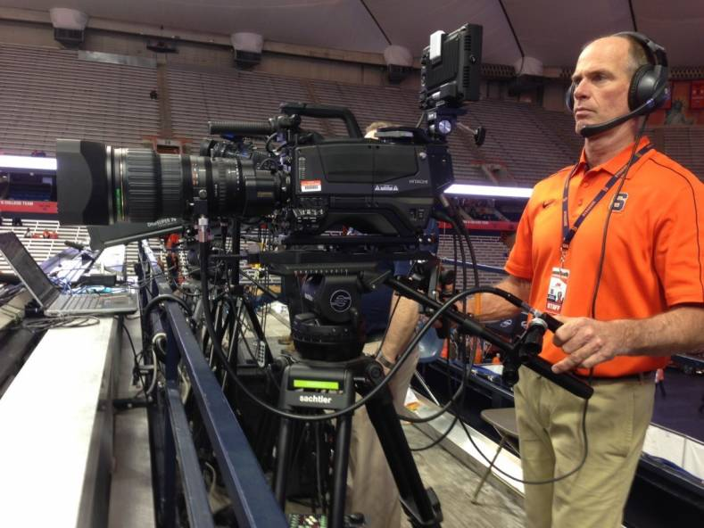 Syracuse Producer/Videographer Jim Hamilton with the Hitachi Z-HD5000 HD camera