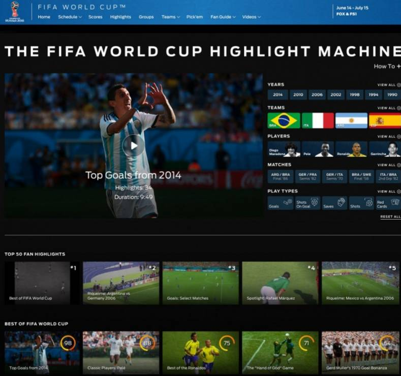 Now you can watch the greatest plays from current or past FIFA World Cup games in The Highlight Machine app. Image: Fox Sports