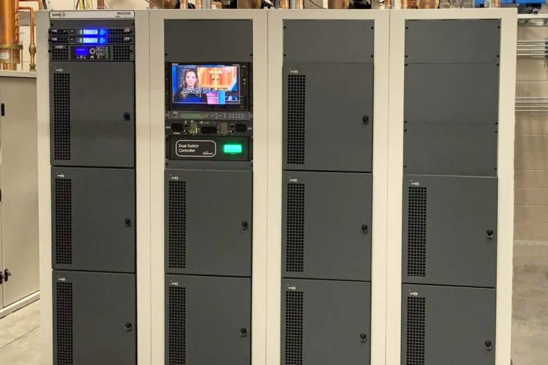 This new 4-cabinet GatesAir ULXTE-100 provides 62.7 kW TPO. Photos courtesy GatesAir.