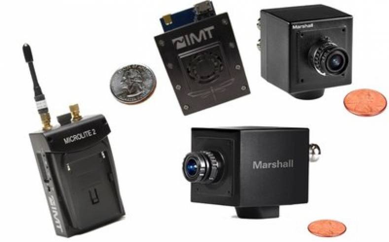 Customers can create their own solutions using one of IMT's ultra-miniature wireless transmitters and a Marshall Mini-Broadcast POV Camera.