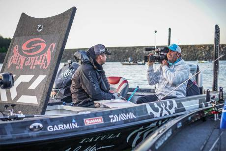 On location with JVC camera and cellular uplink at the FLW bass fishing tournament. Image Rob Matsuura.