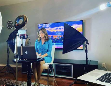KENS-5 morning anchor Sarah Forgany going live from her living room.