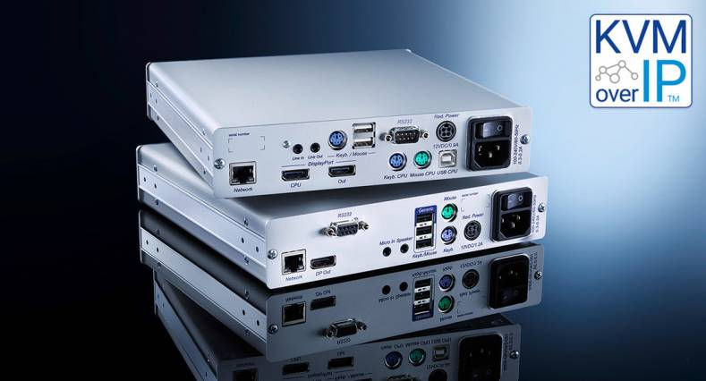 IP extenders use KVM-over-IP technology to transmit signals, allowing operators to access connected computers on Gigabit Ethernet networks.