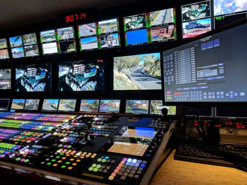 A Grass Valley Kahuna switcher on board a Gearhouse Broadcast OB truck at the 2018 Supercheap Auto Bathurst 1000 car race.