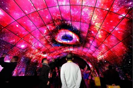 A creative array of 4K OLED displays dazzled CES 2017 LG exhibit visitors.