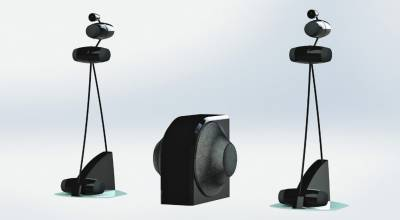 "Leedh E2 Glass speaker system. It is marketed as, ""The First Truly Holographic Loudspeaker. Price, 16.000 €/pair."