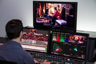 The color grading suite at Light Iron in Hollywood uses a Sony BVM-X300 OLED HDR 4K professional reference monitor for grading.
