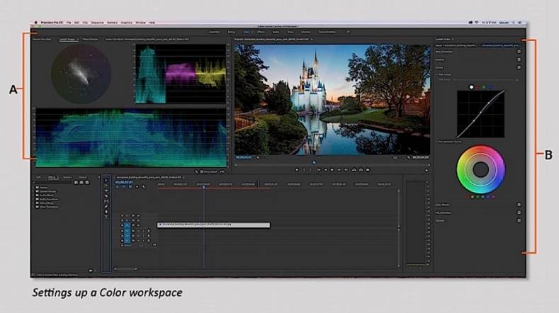 Setting up a color workspace using Adobe's Lumetri color grading control.