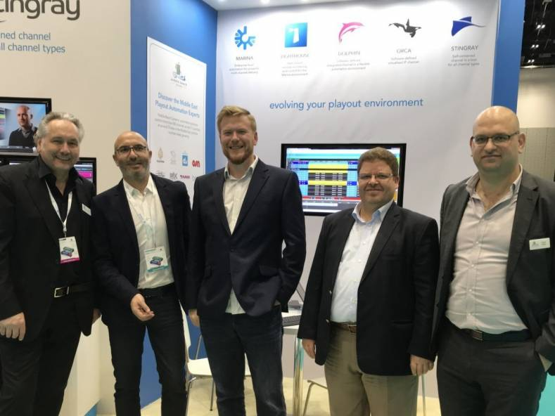 MBC Group and Pebble Beach Systems staff at the recent CABSAT show.