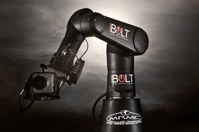 The Mark Roberts Motion Control Bolt JR is a 6-axis, high-speed, compact robotic camera platform.