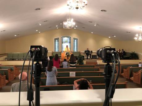 Marshall camera at the Full Gospel Tabernacle Church.