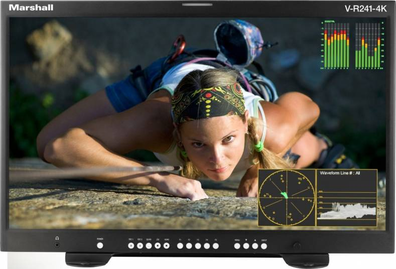 The new V-R241-4K monitor comes with waveform and vectorscope functions and in-monitor displays (IMD/UMD), tally, text and timecode.