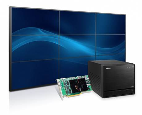 The new single-slot Matrox C900 card, the first to drive nine 1920 x 1200 displays at 60 Hz, is now available in a Shuttle XPC.