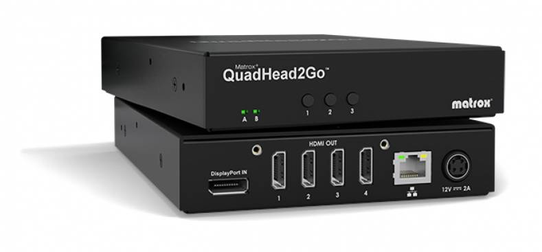 The new QuadHead2Go controllers capture a single 4Kp60 video signal for display across up to four Full HD 1920x1200 screens.