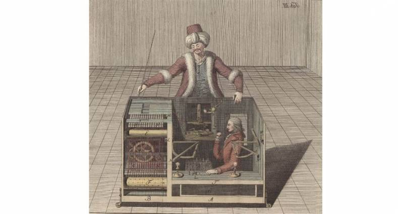 The Mechanical Turk was a chess playing automaton exhibited around Europe from 1770 to 1854. Image public domain.