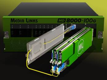 The Media Links 8000 100G is designed to send an increasing number of channels of video signals to/from remote locations.