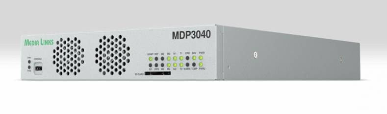 The Media Links MDP3040 IP Media Gateway is a two-channel 4K/UHD TICO compression encoder/decoder, supporting several configurations.