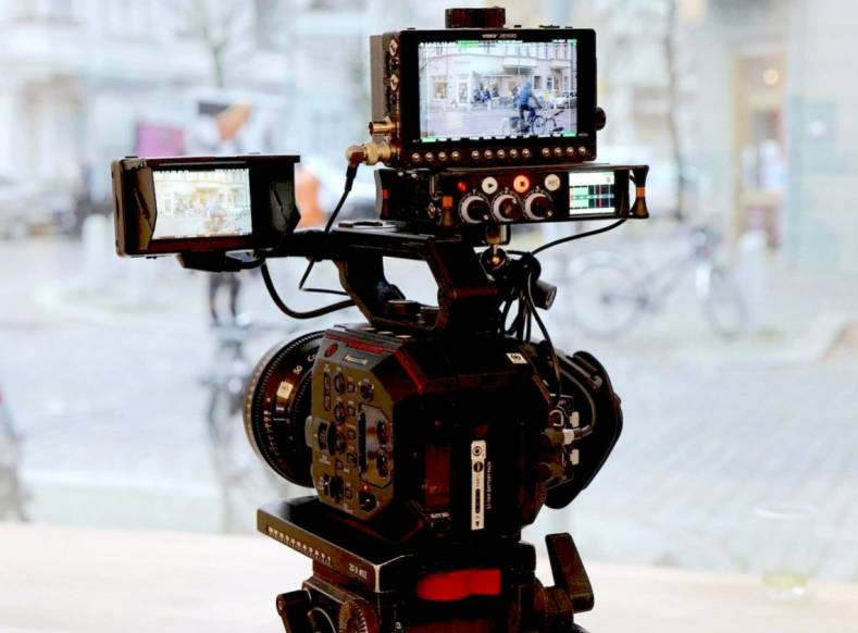 Sound Devices MixPre-3 Audio Recorder/Mixer mounted to work with a Red Giant camera.