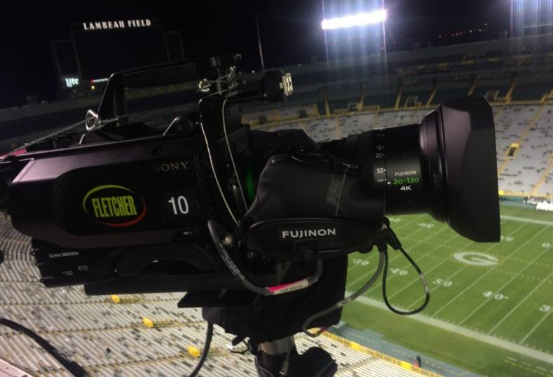 Fujinon 20-120 lens on a Sony HDC-4800 goves goal-line close-ups for Monday Night Football.