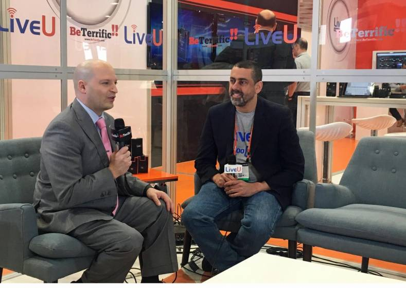 BeTerrific's Michael Artsis speaking with LiveU's Avi Cohen at the 2017 NAB show.