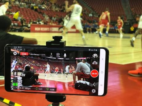 AT&T provided the 5G video infrastructure, while Samsung Galaxy S10 5G phones were dispersed throughout the crowd to shoot the action in HD.