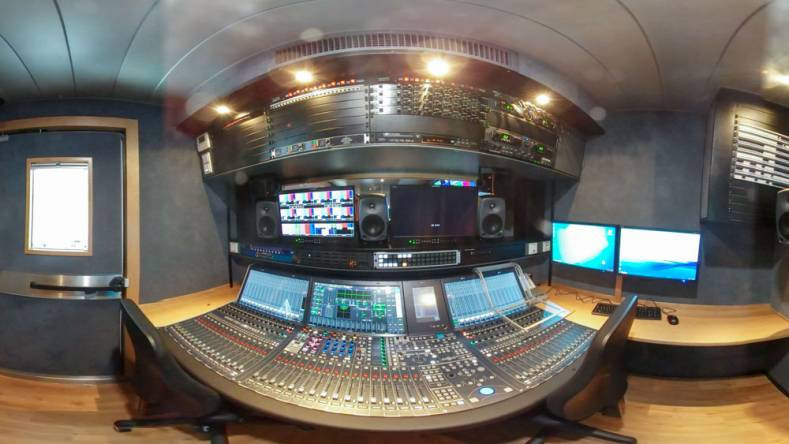 The truck's audio mixing area includes a Lawo mc2 56 console with 48 faders and a Lawo Nova 73 compact 5120x5120 matrix.