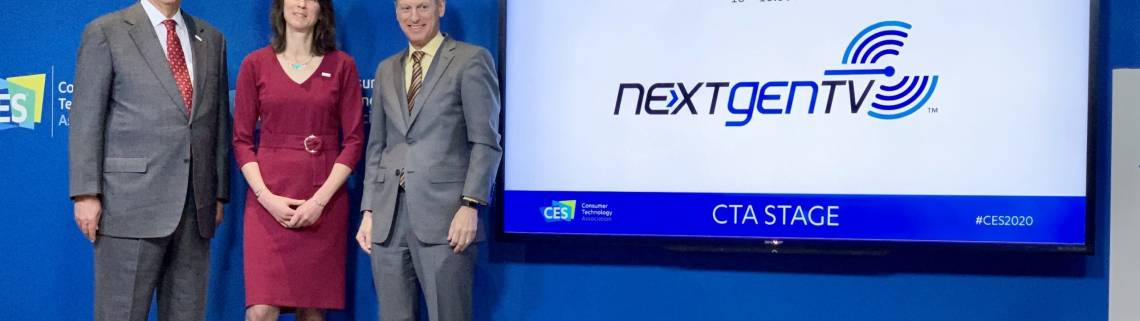 At CES 2020 Noland was joined on stage by Gordon Smith, NAB President and CEO (left), and Gary Shapiro, President and CEO of CTA.