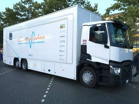 Triple-expando mobile unit has two separate production rooms with separate audio production areas.