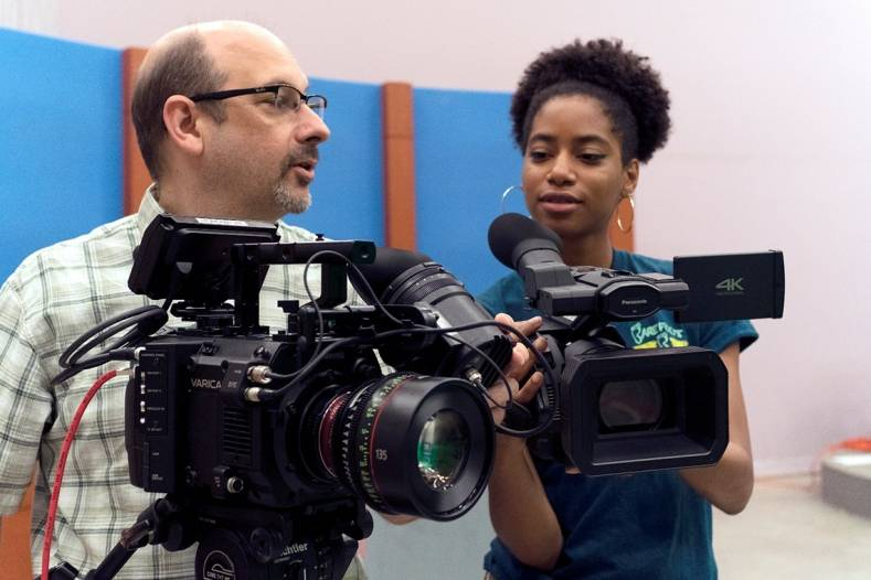 Eugene Martin (L), Chair of the Media Arts Dept. with VariCam LT and Media Arts student Christine Williams (R) with AG-DVX200