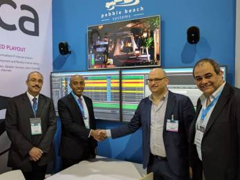 Pebble Beach Systems and Saudi Media City managers met at the recent CABSAT Show.