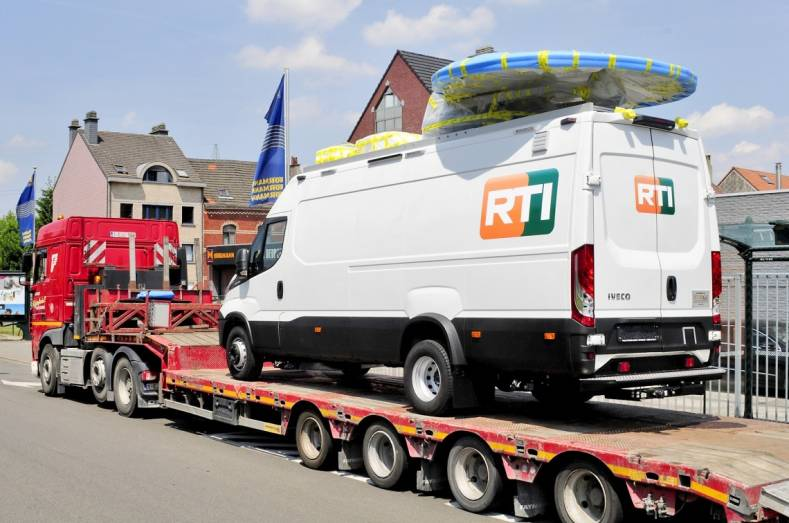 Completed RTI DSNG/OB van at Studiotech Belgium leaves for delivery to RTI.