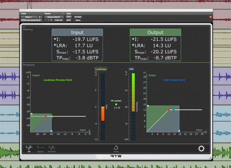 RTW's Continuous Loudness Control (CLC) is the latest addition to the company's Masterclass PlugIns range.