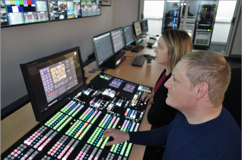 A hands-on training session on the Kahuna video production switcher at SAM's Newbury, UK headquarters.