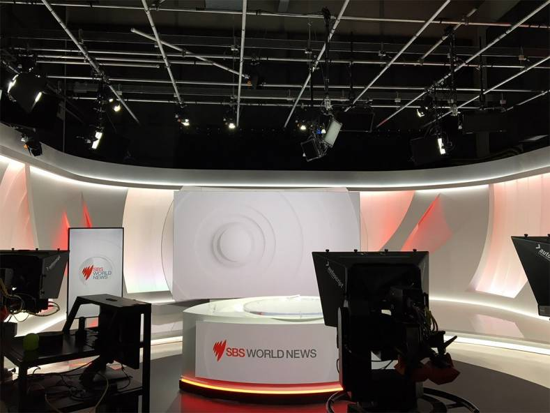 The new SBS World News studio, lights and lighting grid.