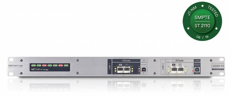 The SSL HC Bridge SRC provides 256 bi-directional channels of sample rate conversion for AoIP networks.