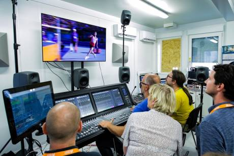 A behind-the-scenes look at an SSL T S300-32 console mixing both AC-4 and MPEG-H 7.0.4 simultaneously at the 2018 European Championships.