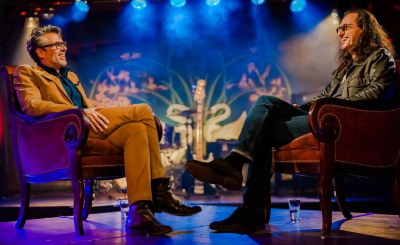 "Musician Geddy Lee (right) is interviewed by Michael Chabon on PBS series ""Speakeasy."" Photo: Kat Villacorta"