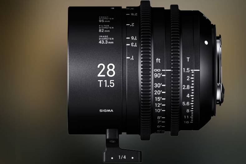 The Sigma Cine 28mm T1.5 FF is compatible with full-frame camera sensors and optimized for ultra-high-resolution 6K-8K productions.