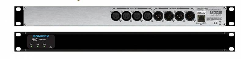 The AVN-A104 is a four input/four output Dante-compatible audio interface for networking a variety of devices.