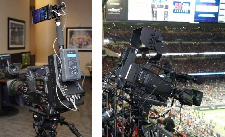Left: Test camera at NRG Stadium. Right: PXW-Z450, equipped with prototype transmitter and Xperia 5G mmWave device.