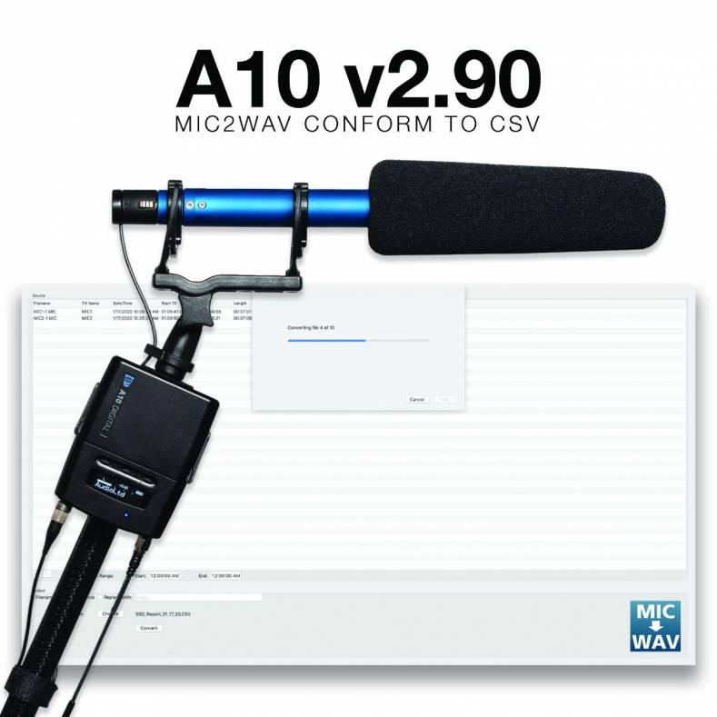 The new A10-TX, mounted here on a boom mic, has been given a new firmware upgrade.