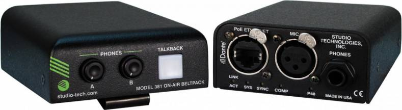 The new beltpack easily integrates into Ethernet-based environments and features Dante networking support.