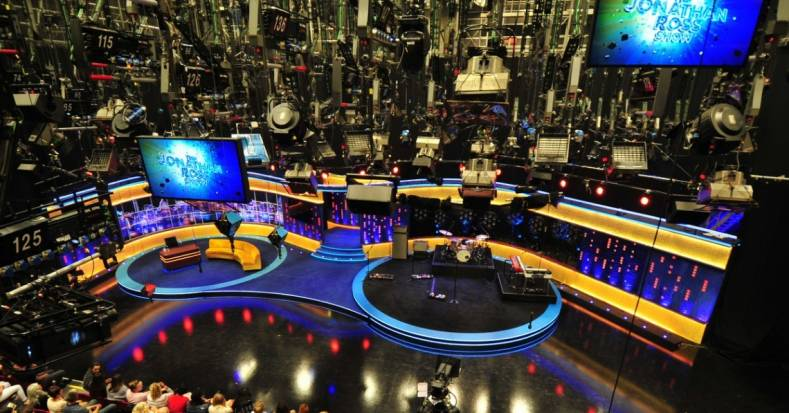 View of the lighting grid in the big TC1 studio at BBC Studioworks TV Centre