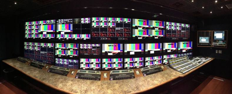 Crews onboard TNDV's new Exclamation can monitor up to 24 multiviewer outputs in production control.
