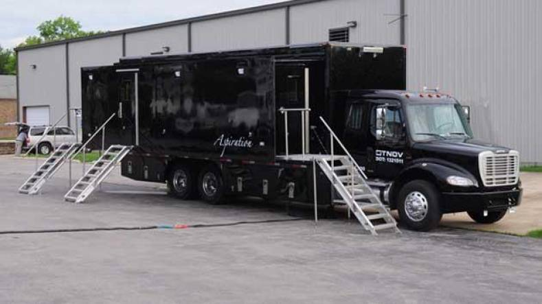 "TNDV: Television operates eight production trucks, including its 40-foot  ""Aspiration."" The crew is partly made up of former interns."